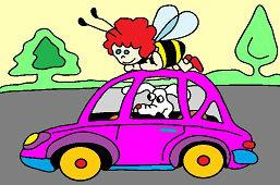 Пчёла и собака в автомобиле