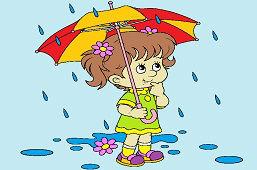 Маленькая девочка под дождем
