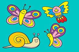 Улитка, птицa и бабочки