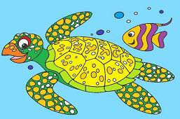 Черепаха и рыба