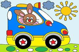 Заяц в новом автомобиле.