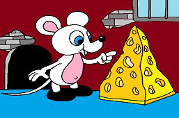 Мышь с куском сыра