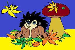 Ёжик в листьях