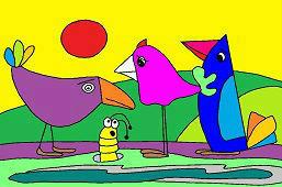 Птицы и червь