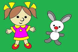 Кукла девочкa и кролик