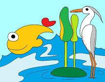 Цапля и рыба