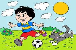 Mальчик с футбольным мячом