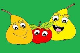 Счастливые груши и яблоко
