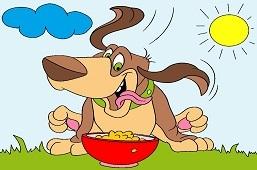 Собака и вкусный ужин
