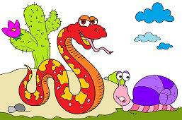Большая змея и улитка