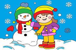 Девушка строит снеговика