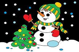 Снеговик и новогодняя ёлка