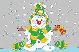 Снеговик с колокольчиком