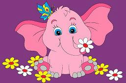 Слон с бабочкой