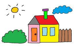 Дом, солнце и облака