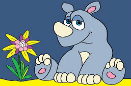 Молодой носорог и цветок