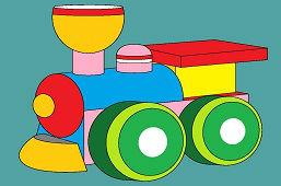Разноцветный деревянный паровоз
