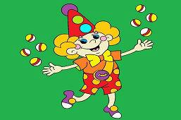 Клоун жонглирует