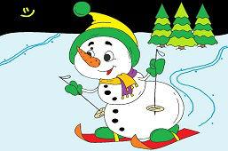 Молодой снеговик на лыжах