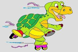 Черепаха на коньках